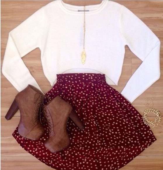 skirt shoes red cute red skirt tank top white brown boots white top all cute outfits
