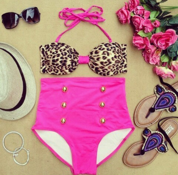 swimwear leopard print high waisted bikini