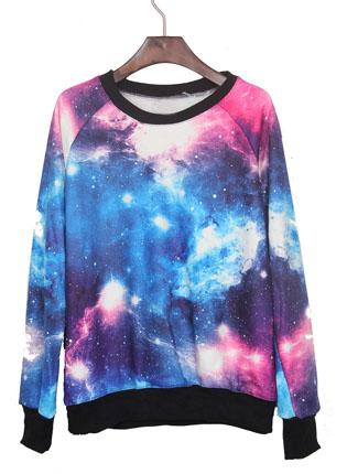 Pink and blue galaxy print