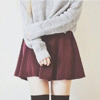 skirt burgundy skirt burgundy high waisted skirt sweater beige grey sweater grey cute cute skirt girly cardigan