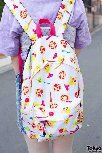 bag backpack white kawaii sailor moon anime pastel pink kawaii bag