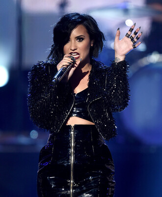 jacket top skirt pvc two piece dress set latex all black everything crop tops demi lovato amas 2015