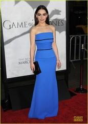 dress,maxi dress,blue dress,tube dress,red carpet dress,clutch,black clutch,celebrity,emilia clarke,game of thrones