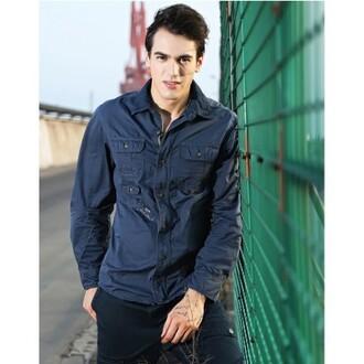 shirt workman shirt justnologo.com classic blue dusky blue mens shirt menswear loose fit pocket shirt