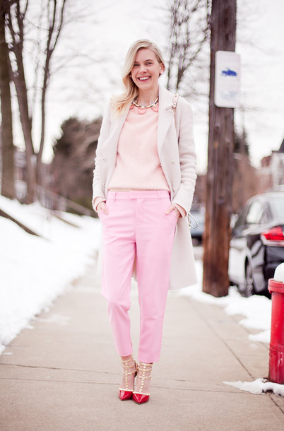 cocorosa blogger pink baby pink pink coat coat sweater pants shoes jewels