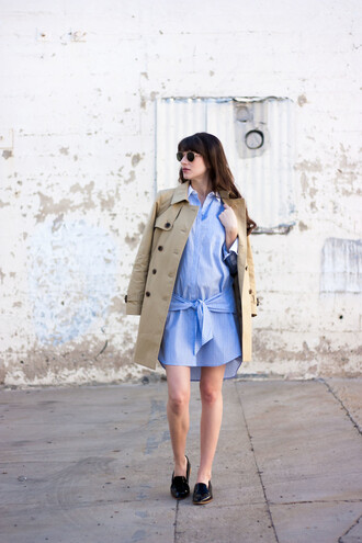jeans and a teacup blogger dress shirt coat shoes sunglasses trench coat loafers blue shirt shirt dress