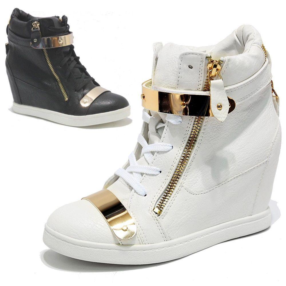 Womens Gold Metal Plate Velcro Strap Dual Zip Wedge Heels Sneakers Trainers 2ne1