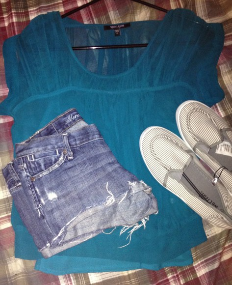sheer blouse teal loose crop top shirt ruched shorts distressed cut offs destroyed abercrombie slip on shoes shoe grey striped slip ons abercrombie&fitch