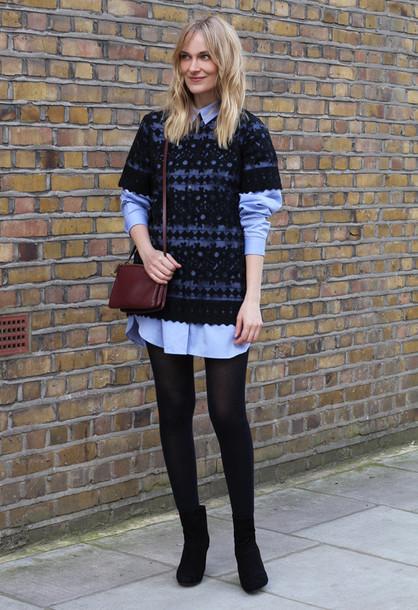 blame it on fashion blogger shirt dress blue shirt black top black boots shirt dress shoes bag
