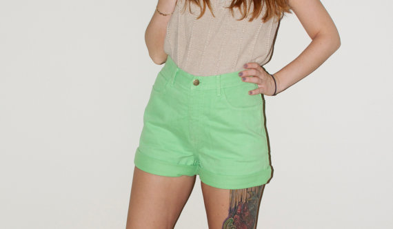 High Waisted Lime Green Denim Guess Hipster by NoteworthyGarments
