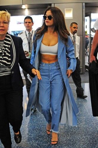 jeans sunglasses glasses sunnies accessories selena gomez celebrity style denim jacket white crop tops crop tops high waisted jeans sandals
