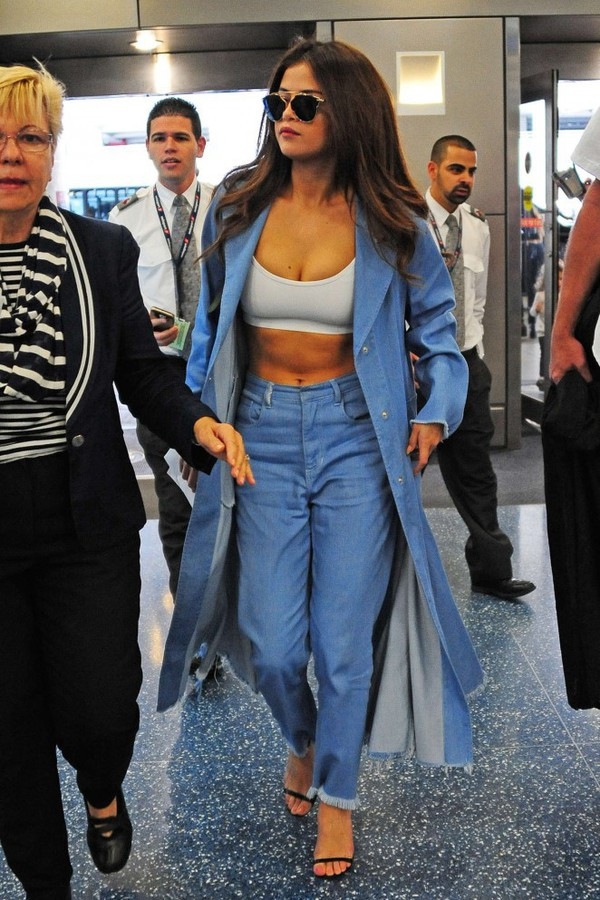 coat jeans denim jacket selena gomez crop tops sandals sandal heels sunglasses denim spring outfits spring jacket shoes top glasses sunnies accessories celebrity style white crop tops high waisted jeans