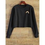 sweater,rose wholesale,hippie,girly,grunge,tumblr,black,cropped sweater,crop tops,black sweater,rainbow