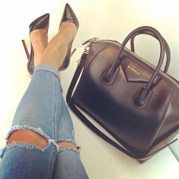 shoes bag jeans denim