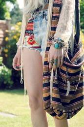 bag,yellow bag,hippie bag,hippie,feather bag,stripped bag,stripes,shoulder bag,hobo bag,shorts,jewels