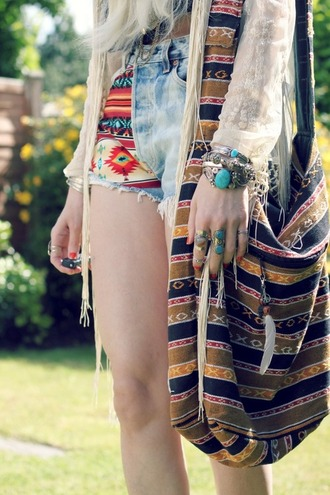 bag yellow bag hippie bag hippie feather bag stripped bag stripes shoulder bag hobo bag shorts jewels