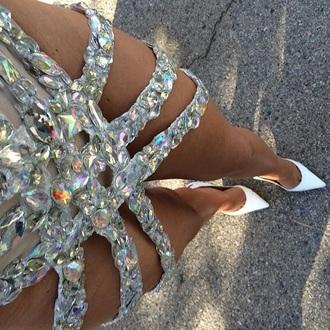 skirt crystal rhinestones embellished skirt rhinestones skirt silver