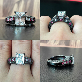 jewels radiant cut diamond engagement ring black gold engagement ring white diamond and pink sapphire ring black ring 2015 new fashion engagement ring