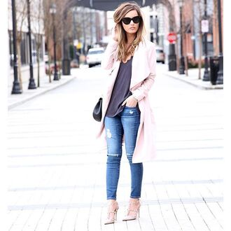 coat for all things lovely top blogger shoes bag sunglasses blouse jeans jewels jacket tank top dress