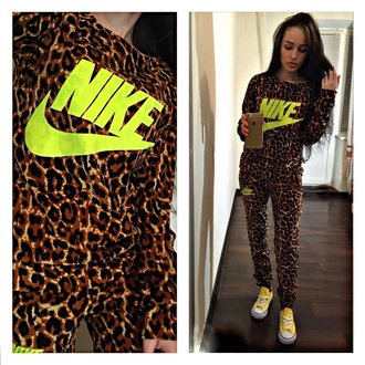 jumpsuit leopard print yellow tracksuit nike pants sweater shirt