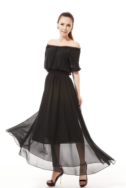 9419c8e5b7fe dress maxi dress summer dress long dress chiffon dress black dress off the shoulder  dress