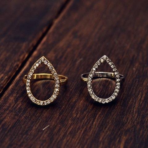 Open crystal teardrop ring