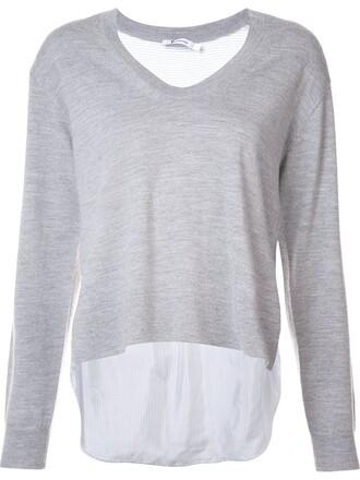 sweater back women grey