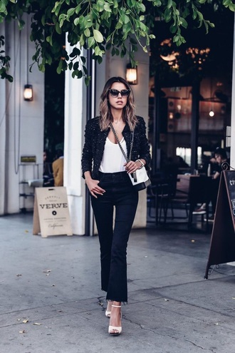 bag chanel gabrielle small hobo bag chanel bag chanel white bag top jacket black jacket black jeans flare jeans jeans