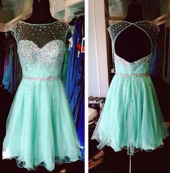 d32b30fc321fc Mint Green Short Prom Dress 2015 Sexy Mint Green Homecoming Dress Backless  Cap Sleeve Beaded Tulle Neckline Top Mint Green Prom Dresses Online with ...