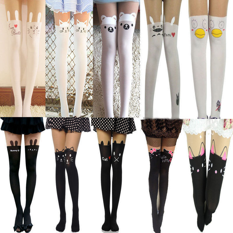 Sexy Black White Cat Tattoo Socks Sheer Pantyhose Mock Stockings Tights Leggings | eBay