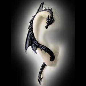 Alchemy Gothic The Dragon's Lure Earring - Black Pewter- Buy Jewellery