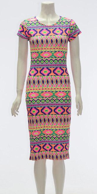 dress ladies neon print aztec midi dress
