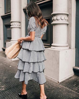 dress tumblr gingham gingham dresses midi dress ruffle ruffle dress bag