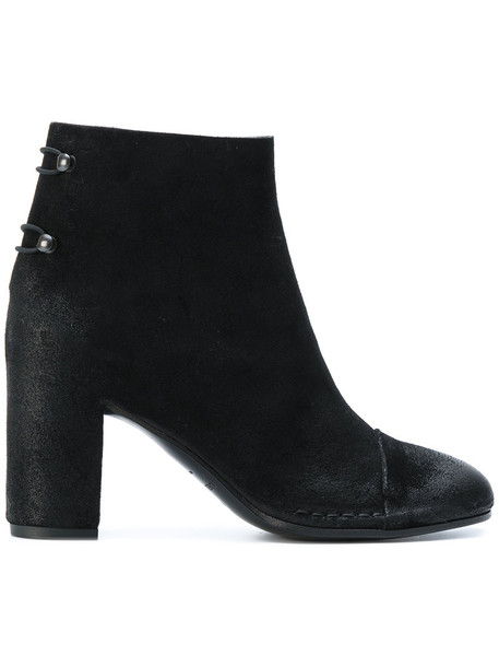 Del Carlo women ankle boots leather suede black shoes