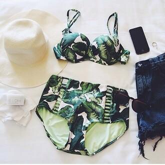 swimwear high waisted bikini bikini dope indie hipster bathing suit swimsuit high waisted shorts tropical