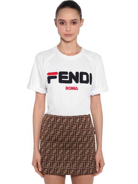 Fendi Mania Logo Printed Jersey T-shirt in white
