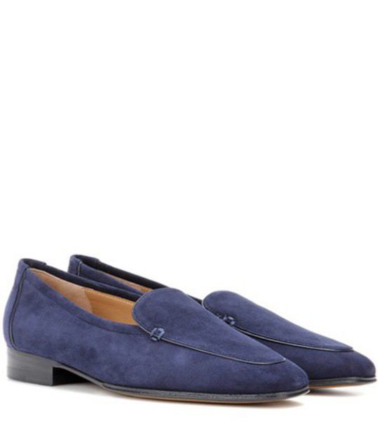 The Row Adam Suede Moccasins in blue