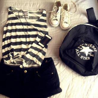 shirt converse all star stripes black and white shoes hot pants shorts blach necklace tennis shoes hot cute summer