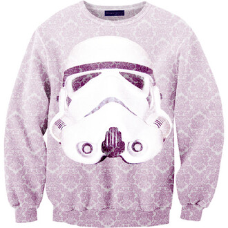 white cute sweater black stormtrooper star wars purple pattern sweet thanks answer