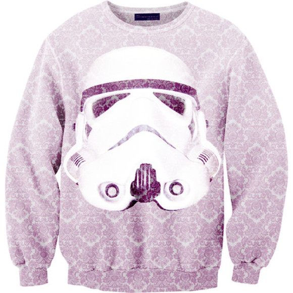 star wars stormtrooper white sweater purple black cute awesome pattern sweet thanks answer
