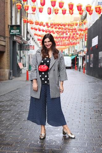 fashion foie gras blogger top coat bag pants red bag polka dots blue pants black top spring outfits