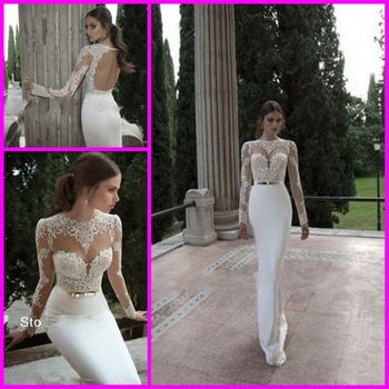 Aliexpress.com : buy backless wedding dresses sexy crew neck long sleeve applique lace chiffon sheer empire beach garden bridal gowns from reliable gown bag suppliers on no.1 suzhou evening& wedding dress store8