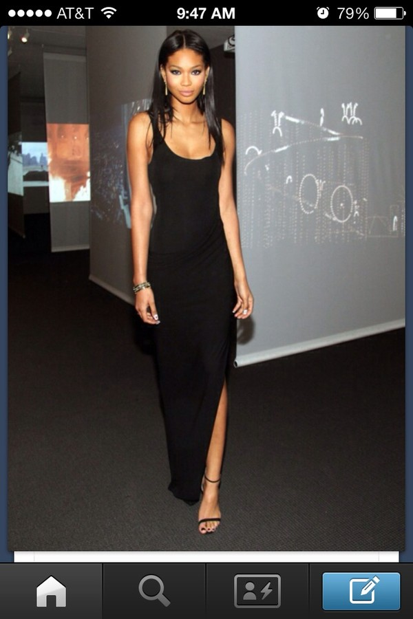 dress black dress chanel iman
