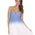 Multi Strapless Dress - Blue & White Ombre Strapless | UsTrendy
