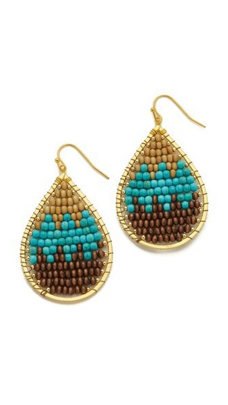 earrings brown turquoise jewels