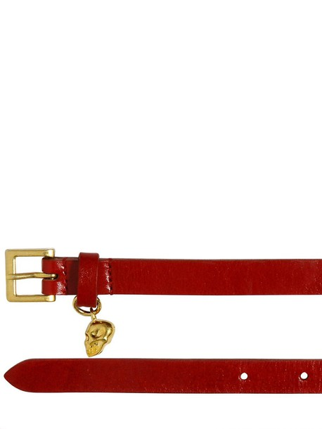 skull belt leather red