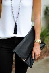 jewels,tassel,black leather clutch,white top,leather clutch,fold clutch,black jeans,gold watch,necklace,jewelry,boho,boho jewelry