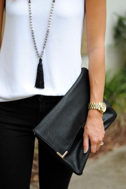 jewels tassel black leather clutch white top tassel leather clutch fold clutch black jeans gold watch necklace jewelry boho boho jewelry
