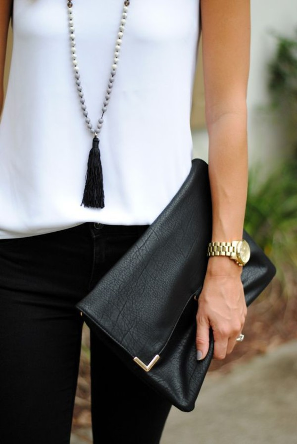 jewels tassel black leather clutch white top tassel leather clutch fold clutch black jeans gold watch necklace jewelry boho boho jewelry