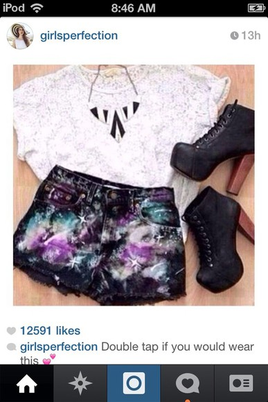 shorts galaxy high waisted shorts